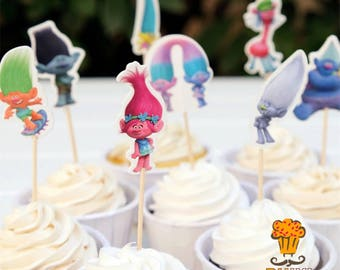 24 piece Trolls Cupcake toppers and picks