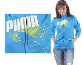 PUMA Windbreaker Bomber Jacket 90s Zipper Raglan Sleeves Blue Green Bomber Turtleneck Zip Up Hip Hop Women Track Top Sports Women Medium
