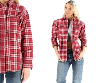 Plaid Shirt 80s Grunge Flannel Burgundy Red Beige Button Down FADED Distressed Vintage Long Sleeve Women Men Oversized Retro XL
