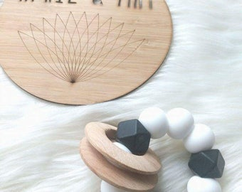 Baby teething rattle rings- teether, rattle, wood & silicone toys- monochrome