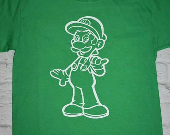 Men's, boys, luigi green shirt, Mario bros