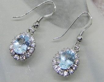 """""""Clasp hook"""" earrings in Sterling Silver 925 Blue Topaz"""