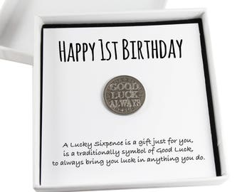 Happy 1st Birthday Lucky Sixpence Keepsake Gift,  Good Luck Present, Lucky Coin