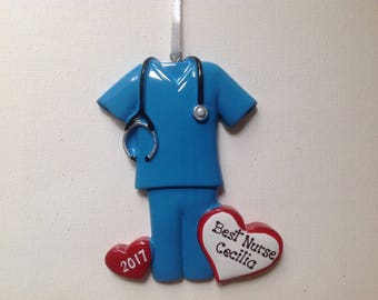 33% Off Personalized Blue Scrubs Christmas Ornament - Nurse, RN, Lab Technician, Medical School Graduate- Drs. Office - Gift