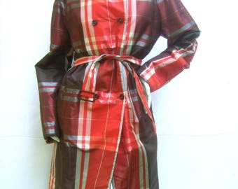 Les Copains Italian Plaid Trench Coat French Size 42