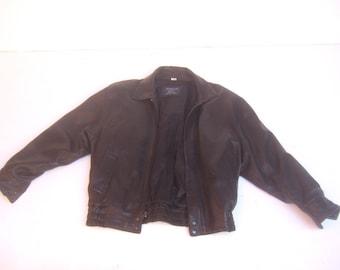 BURBERRY'S  Men's Black Leather Bomber Jacket