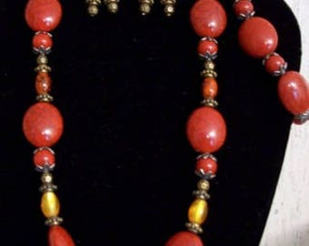 3 pc. Burnt Orange & Yellow Beads Necklace Set,Jewelry Sets,Jewelry,Necklaces,Earrings,Bracelets,Gift Ideas,Gifts for Her,Autumn/Fall,Chic