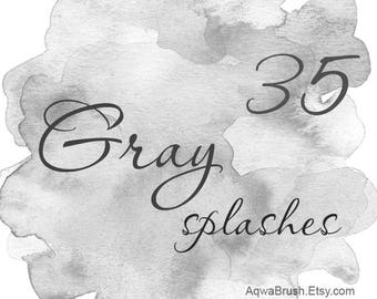 Gray Splashes Watercolor Background - commercial use hand-painted digital clipart overlay abstract brushstroke light background patch png