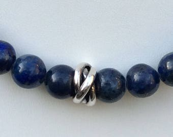 Lapis lazuli beaded necklace sterling silver