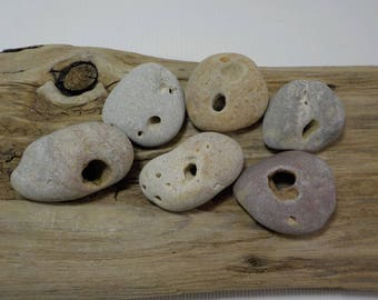 6 Naturally Holed Beach Stones - Hag Stones - Sea Stones With Natural Hole - Decorative Beach Find - Odin Stone Talisman#64