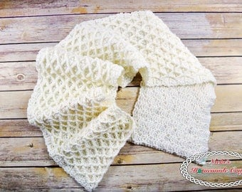 CROCHET PATTERN: Lattice Scarf for Winter, Christmas, Weddings and more