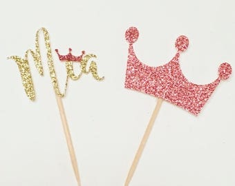 ON SALE Princess cupcake toppers. Pink and Gold Crown. Princess toppers. Princess Party. Calligraphy. Princess