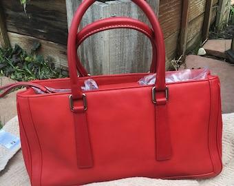 Coach Bag / Vintage Coach /  Vintage Coach 9419  Hamptons Satchel / Lipstick Red Leather Coach Bag EUC