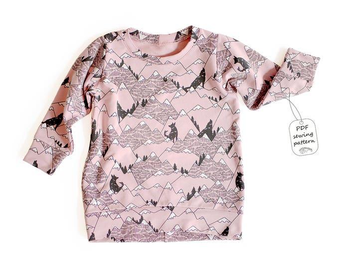Featured listing image: Tunic sweatshirt sewing pattern PDF, sweatshirt sewing pattern PDF, easy sewing pattern, baby sewing patterns pdf, kids sewing pattern