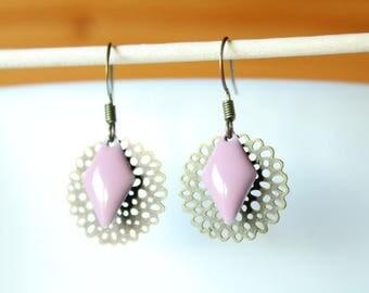Filigree rosette and sequin enamelled old Diamond Pink Purple earrings