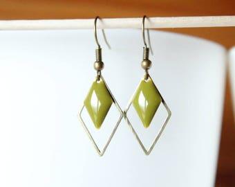 Bronze sequin enameled khaki green diamond and diamond earrings