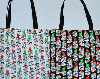 Nerditotes Handmade HandSewn Apples Books Tote Bag