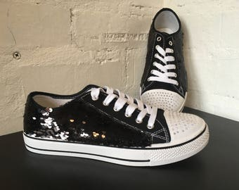 Converse Style Sequin Flats Shoes