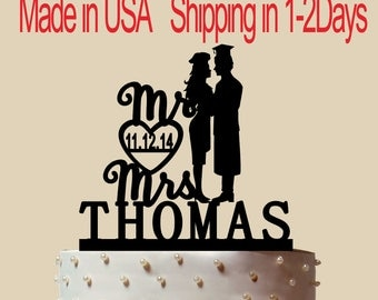 Doctor And Woman Cook Cake Topper, Personalized Cake Topper, Wedding Cake Topper,  Shower Topper, Wedding Decoration, Silhouette,  CT198