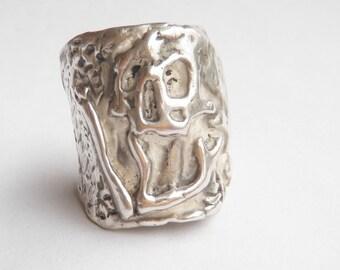 Mens Skull Ring, Mens Sterling Silver Ring, Mens Biker Ring, Rocker Ring, Goth Ring, biker jewelry, .925,Johnny Depp Jewelry-Lugdun Artisans