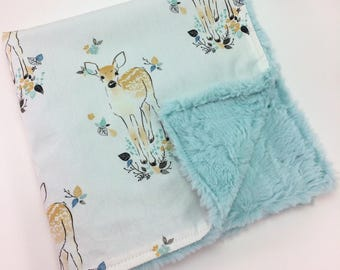 Lovey Minky Blanket ~ Security Blanket ~ Fawn ~ Deer ~ Woodland ~ Sea Glass Blue, Gold & Gray ~ Polka Dot Bib ~ Baby Gift ~ Shower Gift