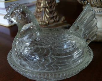 Adorable Glass Hen on a Nest