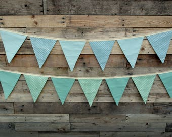 Bunting Fabric Country Cottage Patterned Room Decoration Blue Mint Green