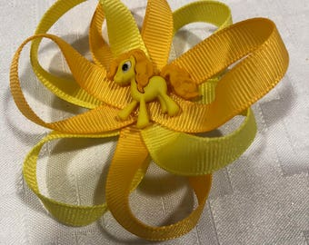 Yellow pony hair bow