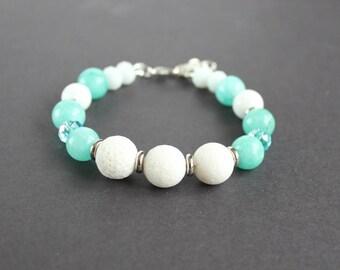 Turquoise white beaded bracelet Amazonite blue bracelet White coral bracelet mint blue bracelet White blue gift Amazonite jewelry Woman gift