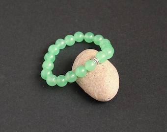 Green silver bracelet Stretch green gemstone bracelet Aventurine healing bracelet yoga meditation green bracelet Green aventurine bracelet