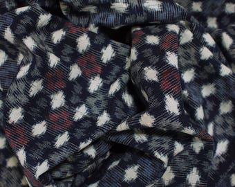set of 2 old cotton fabrics, Japanese vintage textile, indigo fabric and folk textile, boro, kasuri, dark navy