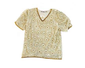 Golden Beaded Silk Top
