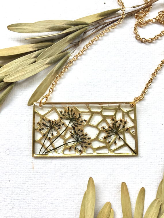 Brass filigree rectangle with Queen Anne's lace flower necklace