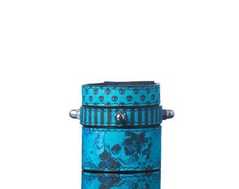 Colours of Life - Calavera Bracelet | 3 In 1, Handmade, Faux Leather, Eco Leather, Bracelet, Print, Skull, Quote, Blue, Turquoise, Leather