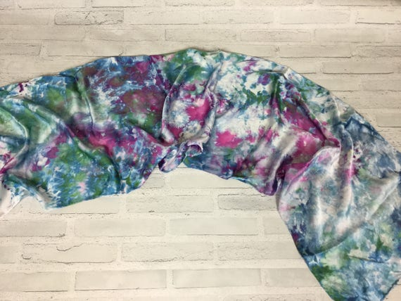 Tie Dye Silk Scarf - 100% Silk Oblong Scarf Ice Dyed Abstract Floral Watercolor Silk Scarves Teacher Gift Indigo Blue Plum Purple Emerald #1
