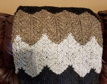 Wool Blend Black, Light Gray, Dark Gray , Brown and Oatmeal Afghan/ Throw