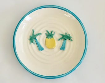 Handmade Palm Tree and Pineapple Plate