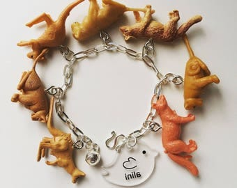 Vintage Hong Kong plastic miniature toys7 animals charms sterling silver925 bracelet