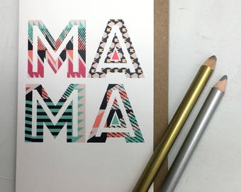 Mothers Day Card | Mama Mothers Day Card | Typography | Geometric Card | Mama Greeting | Typogography Mothers Day | Modern Mothers Day