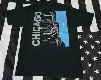 Vintage 90s Chicago Transit Map T Shirt Size M Elevated Trains L Bus Systems CTA Chicagoland