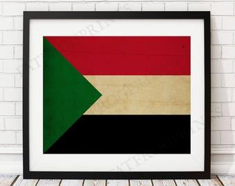 Sudan Flag Print, Sudanese Flag Art, Sudan Gifts, Flag Poster, Moving Gift, Vintage Flag Wall Art, Sudan Art, Sudan Gifts, African Gift