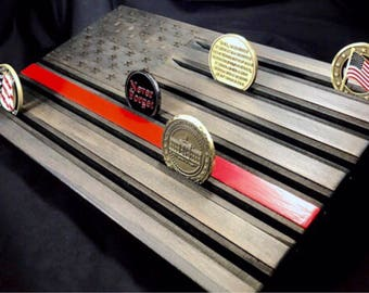 Wood Flag Thin Red Line - Firefighter Gift - Challenge Coin Holder - Coin Display - Customizable - Personalized