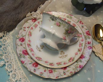 Mismatched Tea Cup Trio with  Pink Calico Roses
