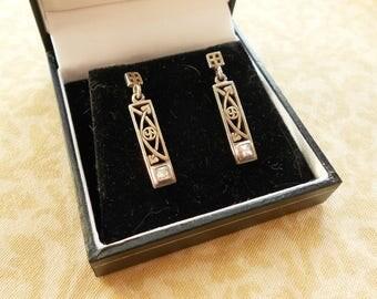 Scottish Silver Drop Earrings, Hallmarked, Mackintosh Inspired Design By Historic Originals