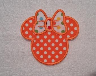 Orange Polka Dot Minnie Mouse Iron on Applique Patch