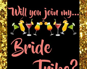 Gold Bride Tribe Bridesmaid Proposal - Wine Bottle Label