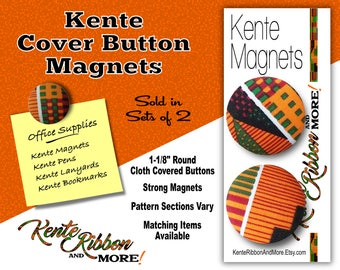 """KENTE BUTTON MAGNETS - Set of 2 - Strong Magnets - 1-1/8"""" Round Cloth Covered Buttons - Pattern Sections Vary - Matching Items Available"""