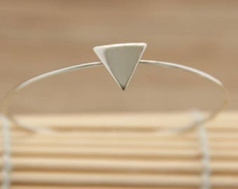 Silver Triangle Wire Bangle