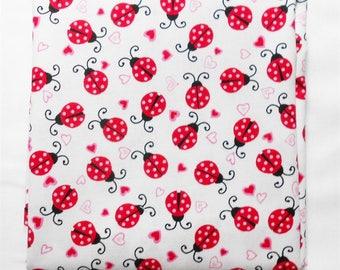 Fabric - 1yd piece-Ladybugs & Hearts/Dear Heart by STUDIOe fabrics/red/pink/white background/Valentine/black/love/bugs (#3635)