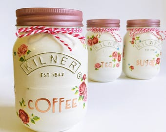 Hand painted Tea, coffee and sugar kilner storage jars • kitchen decor • rose gold • flowers • housewarming • birthday gift • gift for her •
